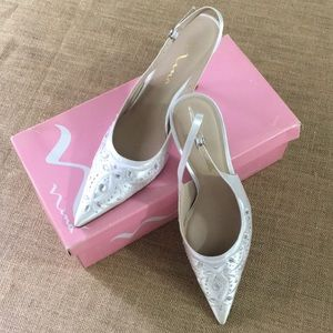 Nina wedding rhinestone sling back shoes size 9